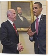 President Obama Meets With Greek Prime Wood Print