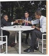 President Obama Professor Henry Louis Wood Print by Everett