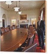 President Obama Surveys The Cabinet Wood Print by Everett