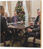 President Obama Talks With Former Wood Print