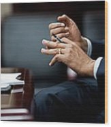 President Obamas Hands Gesture Wood Print by Everett