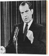 President Richard Nixon During A News Wood Print