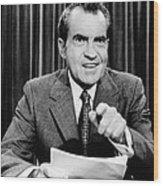 President Richard Nixon Presents A New Wood Print by Everett