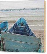 Pretty Blue Boat Wood Print