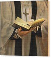Priest With Open Bible Wood Print by Jill Battaglia