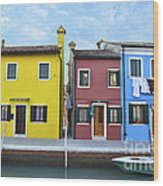 Primary Colors In Burano Italy Wood Print