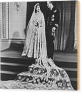 Princess Elizabeth And Prince Philip Wood Print