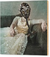Princess In Gas Mask 2 Wood Print