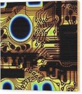 Printed Circuit, Macrophotograph Wood Print by Pasieka
