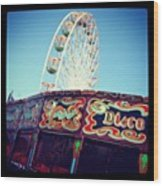 Prom Fairground Rides Wood Print by Chris Jones