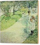 Promenaders In The Garden Wood Print