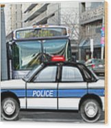 Proud Police Car In The City  Wood Print