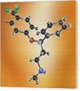 Prozac Antidepressant Molecule Wood Print