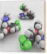 Prozac Molecules Wood Print by Phantatomix