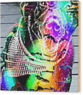 Psychedelic Black Lab With Kerchief Wood Print