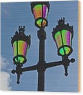 Psychedelic Streetlamps Wood Print