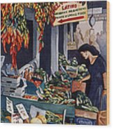 Public Market With Chilies Wood Print