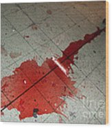 Puddle Of Red Wine On The Floor Wood Print