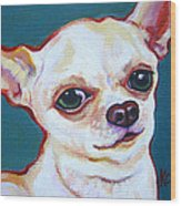 White Chihuahua - Puddy Wood Print
