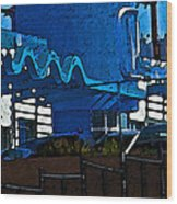 Pueblo Downtown Blue Abstract Wood Print