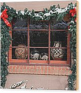 Pueblo Pottery Winter Window Wood Print