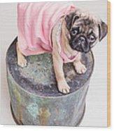 Pug Puppy Pink Sun Dress Wood Print