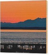 Puget Sound Sunset Wood Print by Sarai Rachel