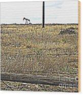 Pumping Oil On The Texas Prairie Wood Print