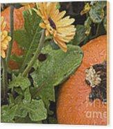 Pumpkin And Gerberas Wood Print