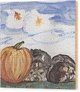 Pumpkin And Puppies Wood Print by Pamela Wilson