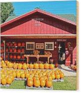 Pumpkin Barn Wood Print by Rachel Cohen