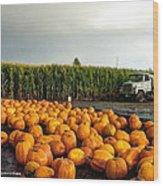 Pumpkin Patch Round Up Wood Print by Sarai Rachel