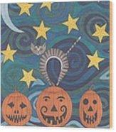Pumpkin Perch Wood Print