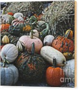 Pumpkin Piles Wood Print