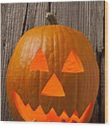 Pumpkin With Wicked Smile Wood Print