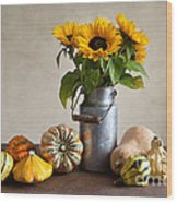 Pumpkins And Sunflowers Wood Print