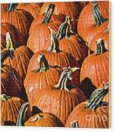 Pumpkins Galore Wood Print