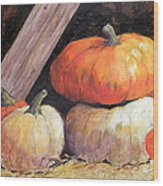 Pumpkins In Barn Wood Print