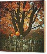 Pumpkins On The Wall Wood Print