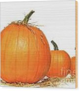 Pumpkins With Straw On White  Wood Print