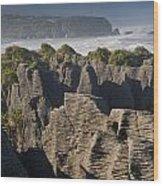 punakaiki pancake rock New Zealand Wood Print