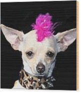 Punk Rock Chihuahua Wood Print by Ritmo Boxer Designs