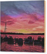 Punta Gorda Sunset Wood Print by Sandy Poore