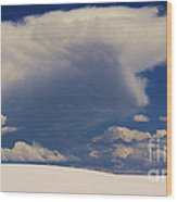 Pure White Sand And Mountain Storms Wood Print
