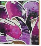 Purple Abstract Graffiti Detail Wood Print