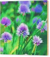 Purple And Green Chive Watercolor Wood Print
