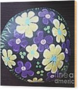 Purple And Yellow Flowers Wood Print