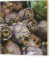 Purple Artichokes At The Market Wood Print