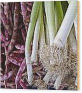 Purple Beans And Green Onions Wood Print