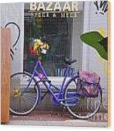 Purple Bike Wood Print